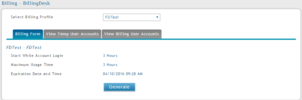 Figure 2. Selecting a Billing Profile