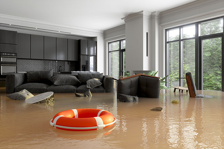 Living Room Damaged with Water Flooding